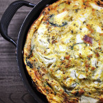 Guilt Free Spinach Goat Cheese Turkey Bacon Frittata