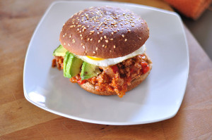 Ground Turkey Sloppy Joes w/ Avocado & a Fried Egg