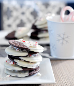 Chocolate Peppermint Cookies with White Chocolate & Candy Cane Coating