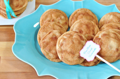 Soft & Chewy Brown Butter Snickerdoodles with Caramel Bits